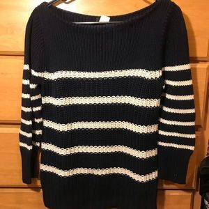 NWOT J Crew navy blue and white striped sweater